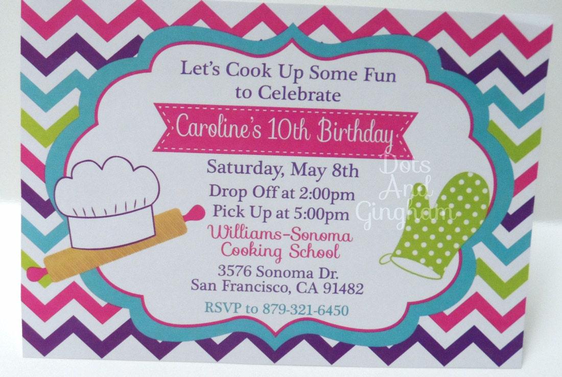 Cooking Invitation-Chef Invitation-Baking Invitation-Cooking