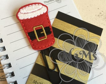 Santa Latte Coffee Paperclip, Paper Clip Bookmark, Santa Coffee Planner, Christmas Planner Accessories, Feltie Planner, Feltie Bookmark