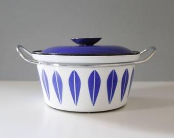 Cathrineholm Norway Dutch Oven Pot Blue on White Lotus Danish Modern
