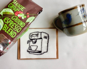Art Cards---Stitched Coffee Maker