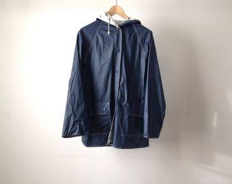 vintage 80s REVERSIBLE rain parka northwest oxford sailboat design JACKET coat