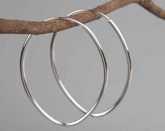 Silver Oval Hoops Earrings