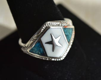 Vintage,Southwestern,Turquoise,Ring,Star Ring,Silver tone