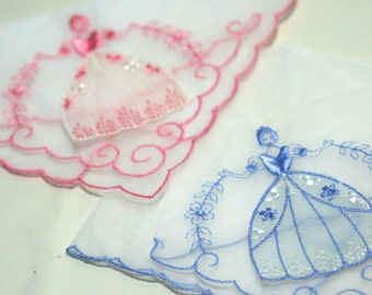 Vintage Pair of Kitsch Collectible Southern Belle Hankies Girls Hoop Skirt Bonnet Scarlet O Hara Antebellum  Pink Blue Embroidery Set of 2