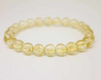 8mm Citrine Bracelet  Womens Bracelet Beaded Bracelet Mens Bead Bracelet Bracelet for Women Bracelet for Men Natural Bracelet Stretch