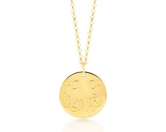 """Monogram Initial Dainty Pendant 3/4"""", Engraved Necklace, Personalized Charm Necklace, Pendant Necklace, - 925 Sterling Silver Made in USA"""