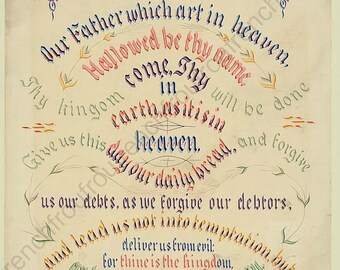 antique victorian lithograph the lord prayer digital download
