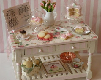 Miniature Bakery table -RESERVED for Kimberly - titled - Baking In Roses
