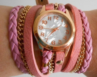 Pink watch bracelet cuff Fashion and Casual 2016