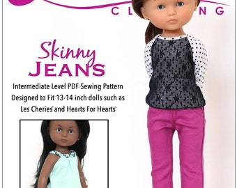 Pixie Faire Liberty Jane Skinny Jeans and Shorts Doll Clothes Pattern for 14 inch Hearts for Hearts and Corelle Les Cheries Dolls - PDF