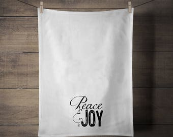 Peace & Joy Tea Towel - Kitchen - Housewares - Gift - Christmas - Holiday
