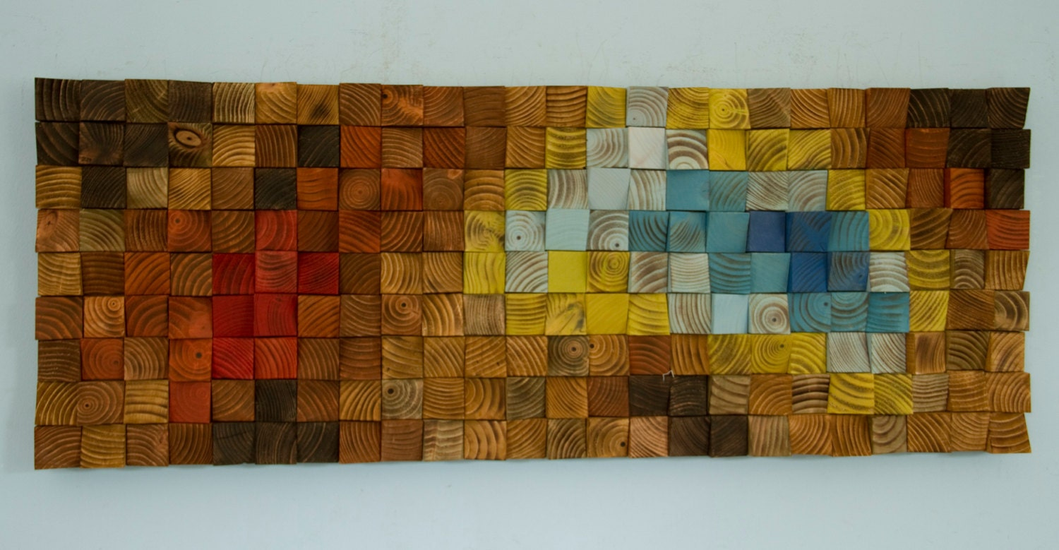 & Wood Wall Art reclaimed wood art mosaic The Northern Lights