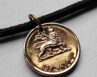 1944 Ethiopia 1 Santeem coin pendant Lion of Judah Rasta Ethiopian Jewish tribe Rastafari Haile Selassie African crown Zion necklace n000602