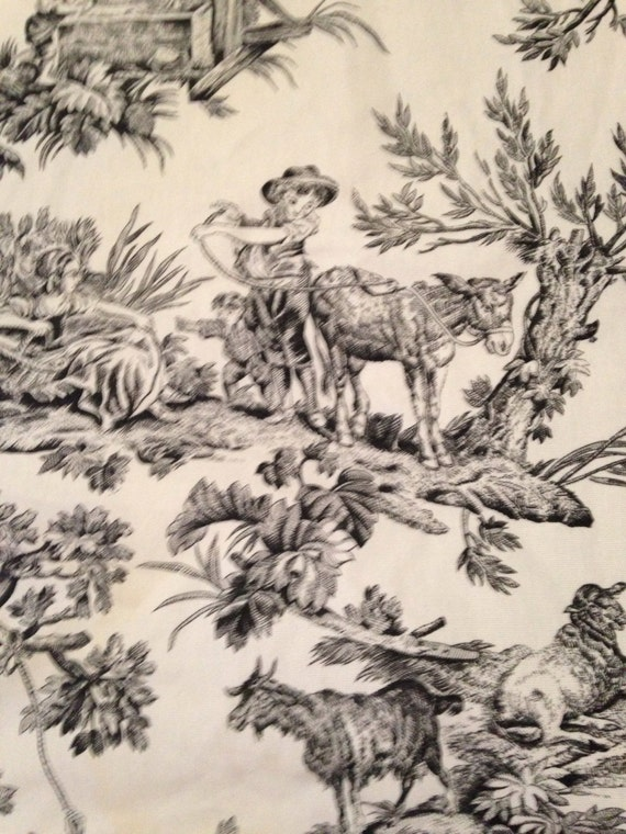 Black and Ivory White Toile Fabric Goats Sheep Countryside from  VintageSqualor on Etsy Studio