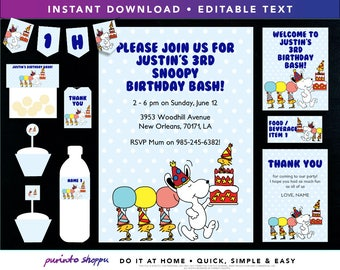 Snoopy Birthday Party Printables / Invitation - INSTANT DOWNLOAD - Fully EDITABLE text