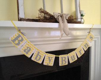 BABY Shower Decorations CHEVRON stripes Baby boy Banner Baby Shower Banner Nursery Decor  Photo Prop - custom colors