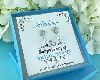 Bridesmaid Earrings, pearl bridesmaid earrings, Personalized bridesmaid jewelry, wedding jewelry, Elisabeth Bridesmaids Pearl Earrings