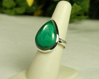 Malachite Ring, Size 9, Elegant Swirls, Pear Shape, Sterling Silver, Green Malachite, Natural Malachite, Large Malachite