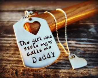 Gift for Dad from Daughter, Daddy Daughter Necklace, Dad Keychain, Daddy Daughter Gift, Father Daughter Gift, The Girl Who Stole My Heart