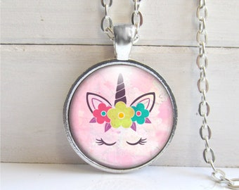 Cute Unicorn Necklace, Pink Unicorn Pendant