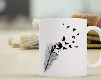 Crow Feather Coffee Mug | Bird Coffee Mug | Crow Totem | Coffee Mugs with Sayings | Sublimation Mug | 11oz Coffee Mug 15 oz Coffee Mug