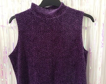 Purple and black leopard print velour sleeveless high neck top