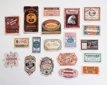Vintage Labels Planner Stickers Pack,  Vintage Objects Stickers, Scrapbooking Kiss-Cut Sticker Set
