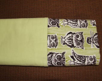 Flannel Green Owl Baby Blanket