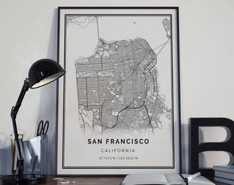 San Francisco map poster print wall art | California gift printable download | Modern map decor for office, home and nursery | MP13