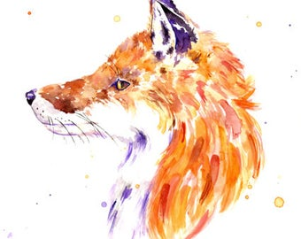 Fox Watercolour Art Print