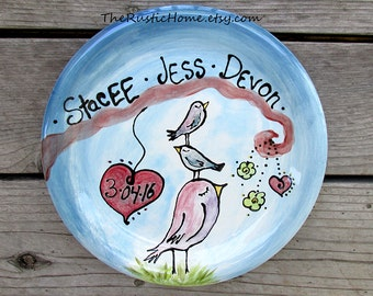 Custom mother's day family tree bird plate kiln fired pottery gift wedding baby birds mom dad kids adoption keepsake gift personalized plate