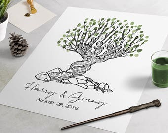 Harry Potter BW Womping Willow Guest Book: fingerprint guest book for weddings, thumbprint tree, guest book alternative