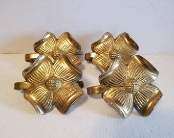 Brass Dogwood Flower Curtain Tieback Hooks -Set of 4