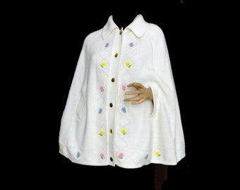 60s Cape Sweater Knit Poncho Pastel Floral Embroidery Button Down White Acrylic Sweater