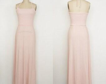 Vintage Pink Halter Top - Knit Dress - Maxi Dress -  Women's Medium