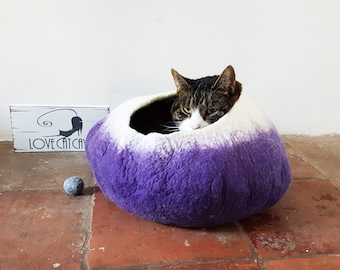 Large felt Cat Bed Cave House Cocoon in purple and white with Free Ball