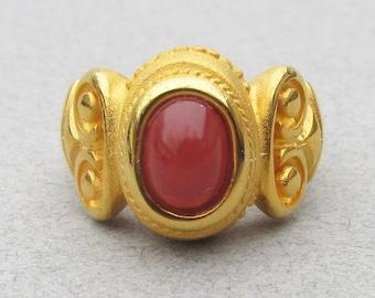 Vintage 1980's Etruscan Revival Faux Carnelian Ring, Size 6