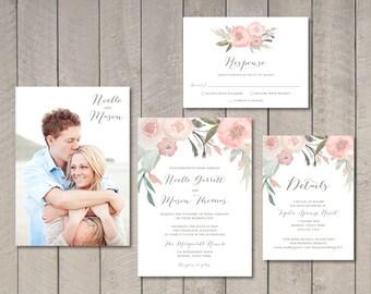 Blush Floral Wedding Invitation, Response, Details Card (Printable) by Vintage Sweet