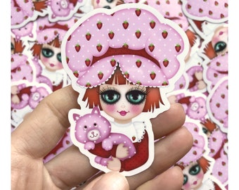 3 inch weatherproof Strawberry Shortcake vinyl sticker - Ideal for laptops, cellphones etc...
