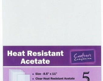 "Crafter's Companion 5 Heat Resistant Clear Acetate Sheets 8.5"" x 11"" Made in USA"