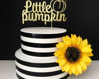 Little pumpkin cake topper- first birthday cake topper- smash cake- baby shower cake topper- fall cake topper