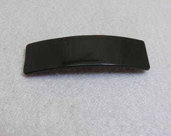 Vintage Shiny Black Plastic Hair Barrette, 3.5 Inches Wide