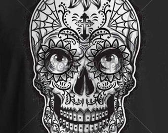 Sugar Skull With Eyes Day of the Dead WOMENS SHORT SLEEVE T Shirt 17938