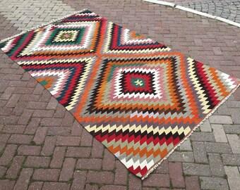 Diamond design Kilim rug, Vintage Turkish rug, rugs, area rug, vintage rug, bohemian rug, eccentric rug, anatolian rug, rug,
