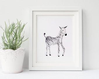 Zebra Watercolor Nursery Safari Print, The Nursery Collection, Safari Animals.