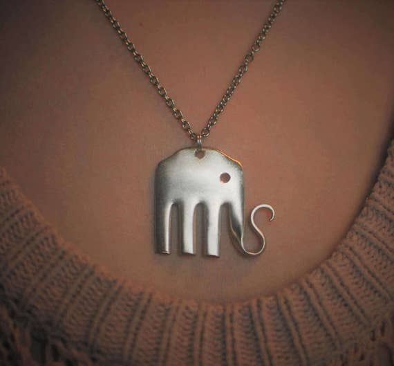 products octopus necklace fork pendant original silverware ellis kristin jewelry by