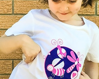 Girl Bug Shirt, Pink Bugs, Girl Bug Party, Bugs for Girls, Insect Party, Bugs, Insects, Bug Shirt, Girls T Shirt, Girl Gift, Ladybug