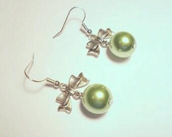 Light green Pearl glass bead, metal bow charm earrings