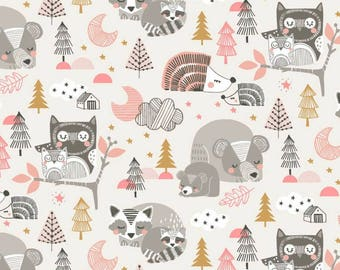 """baby fitted sheet for crib, for 28x52"""" mattress , grey/mustard yellow and pink forest animals, owls, raccoons bears"""