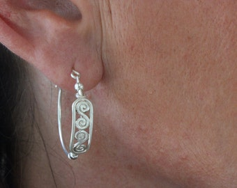 Delicate sterling silver hoops earrings tiny silver pendant loops earrings hoops earring dangle silver hoop earrings handmade hoop earrings